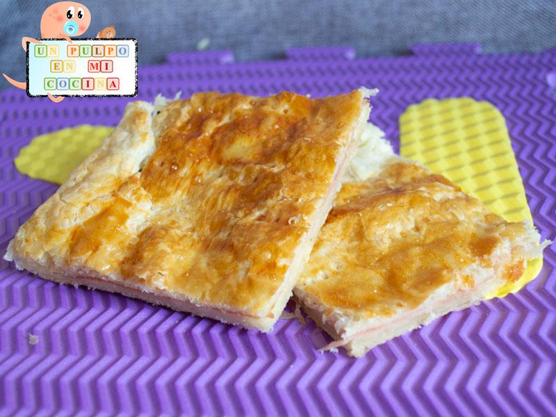 Empanada de jamón y queso con niños