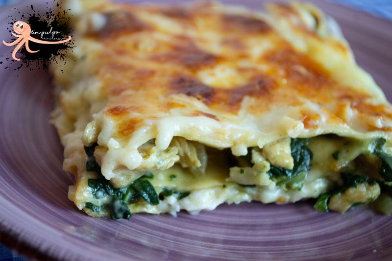 🍽️ Lasaña de espinacas y pollo. Fácil, rápida y deliciosa.