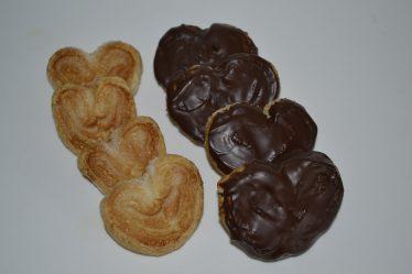 Palmeritas de hojaldre y chocolate